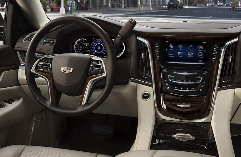 Steering wheel and infotainment system in 2017 Cadillac Escalade