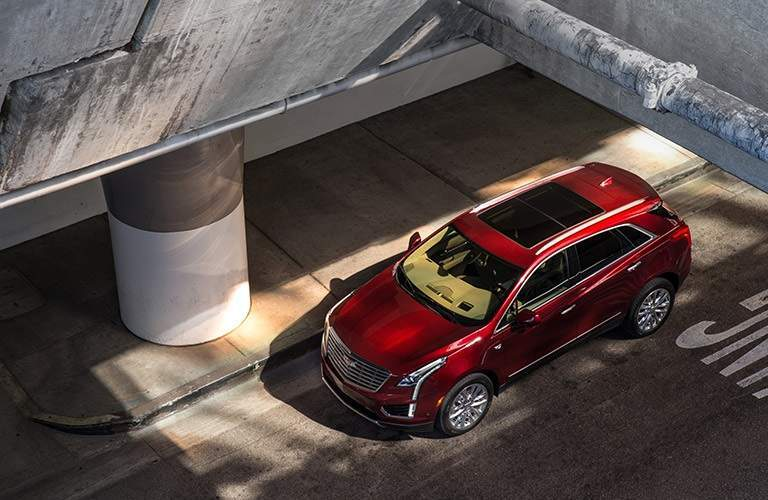 overhead view of a red 2017 Cadillac XT5