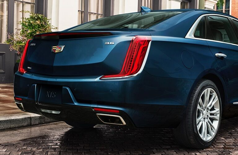 Rear view of a blue 2019 Cadillac XTS