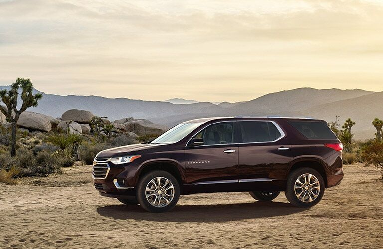 Side view of a 2018 Chevy Traverse in a desert