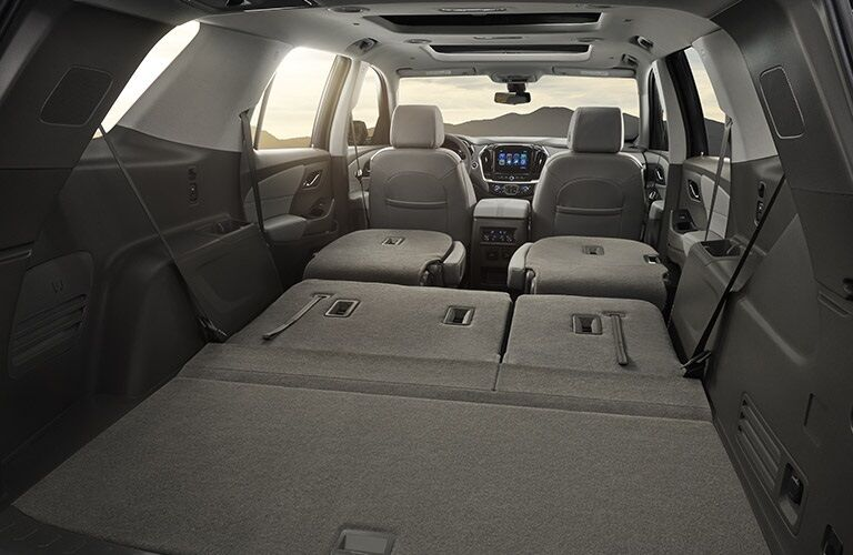 Folded rear seats in the 2018 Chevy Traverse