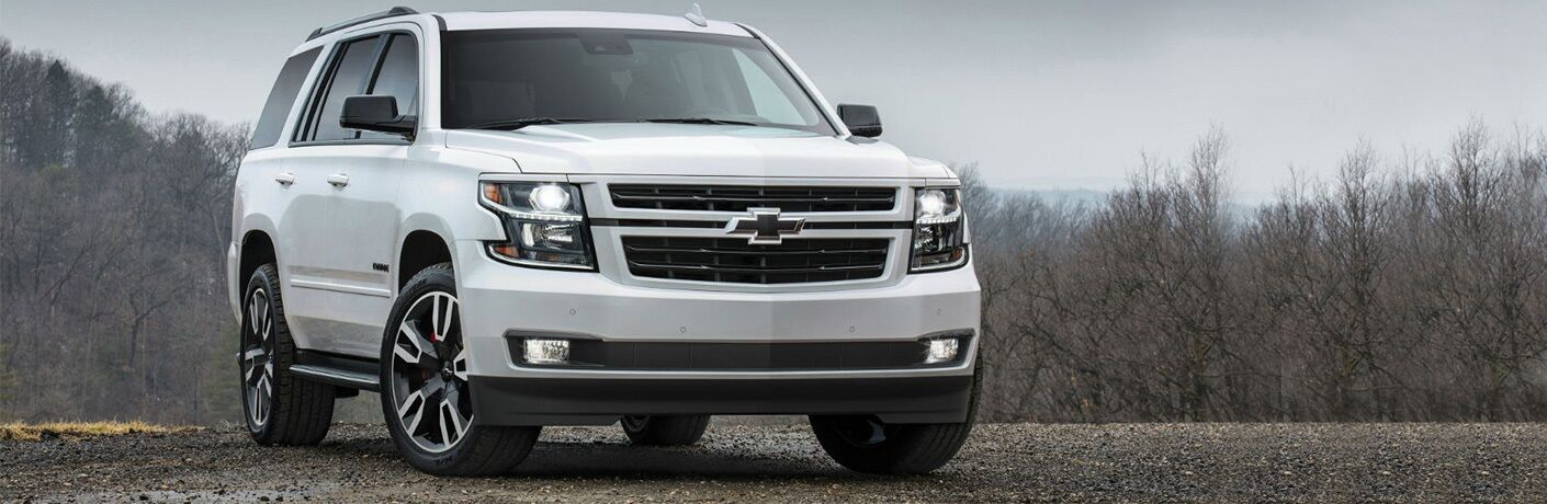 Front view of a white 2018 Chevy Tahoe