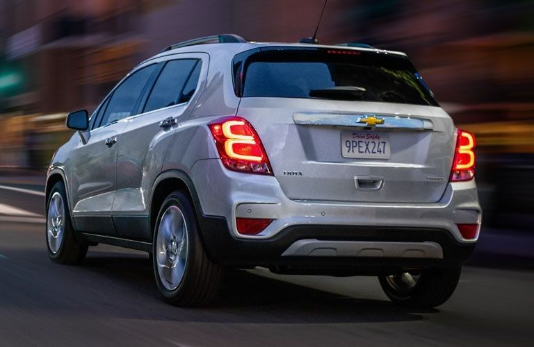 Rear view of a silver 2019 Chevy Trax