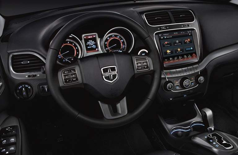 Steering wheel and infotainment system of 2016 Dodge Journey