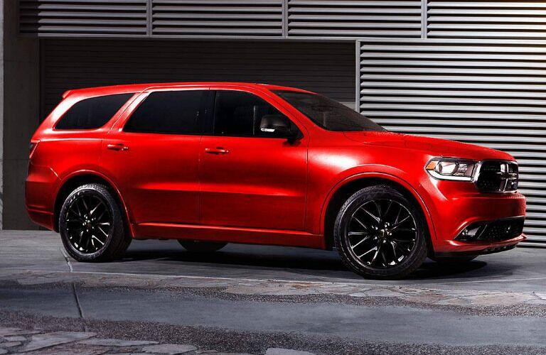 Red 2016 Dodge Durango parked in garage
