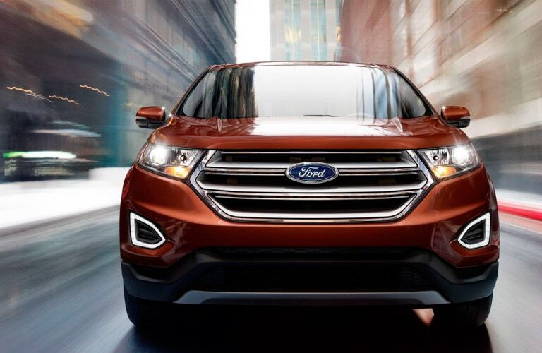 Front view of a red 2018 Ford Edge