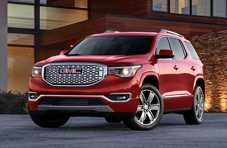 Front view of a red 2019 GMC Acadia