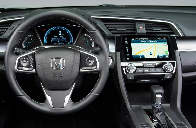 steering wheel and infotainment system of the 2016 Honda Civic