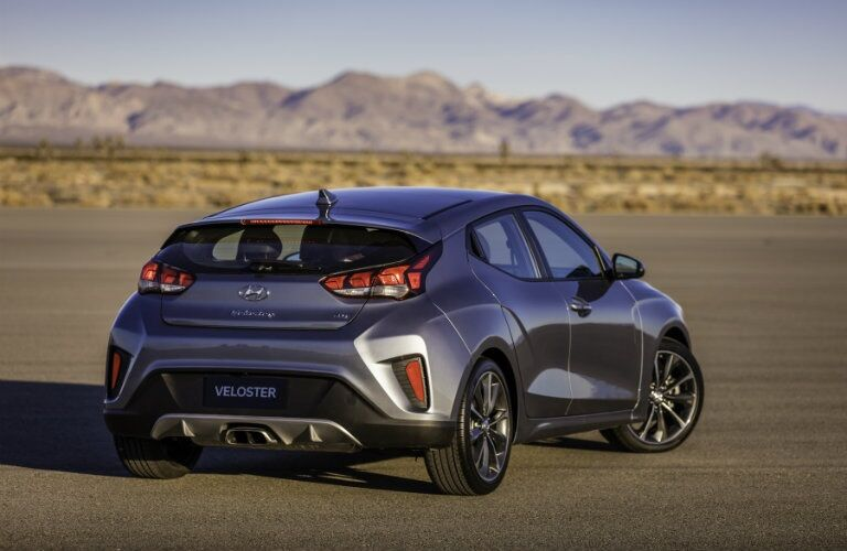 Rear view of a gray 2019 Hyundai Veloster