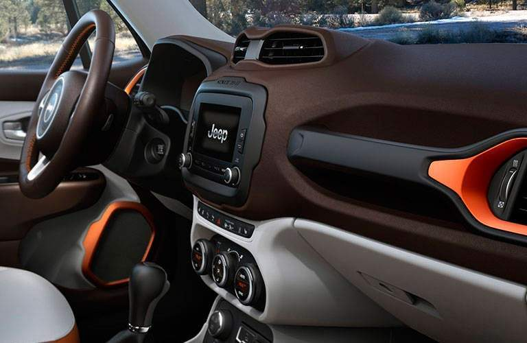 Interior dashboard of the 2016 Jeep Renegade