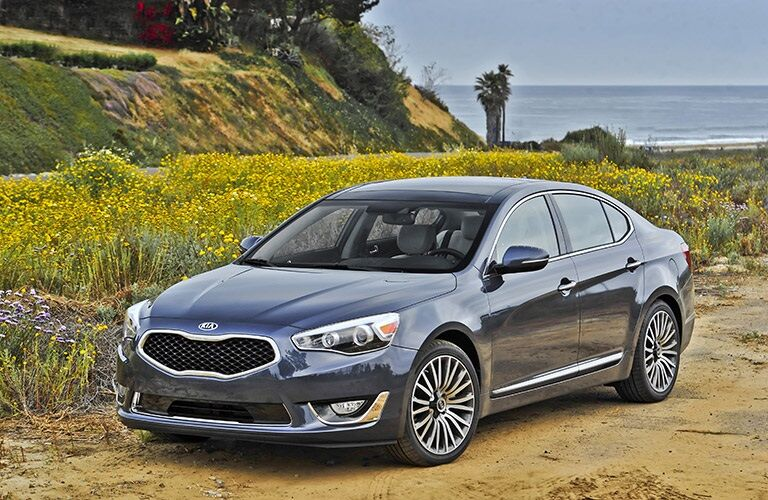 black 2016 Kia Cadenza on dirt road