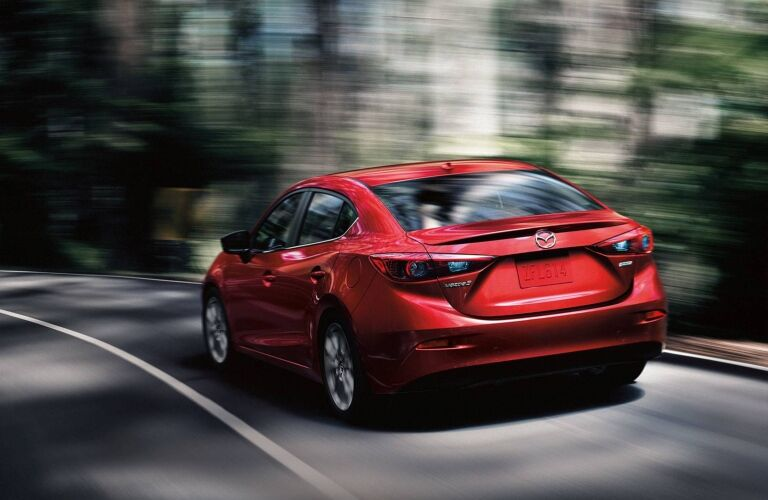Rear view of a red 2018 Mazda Mazda3