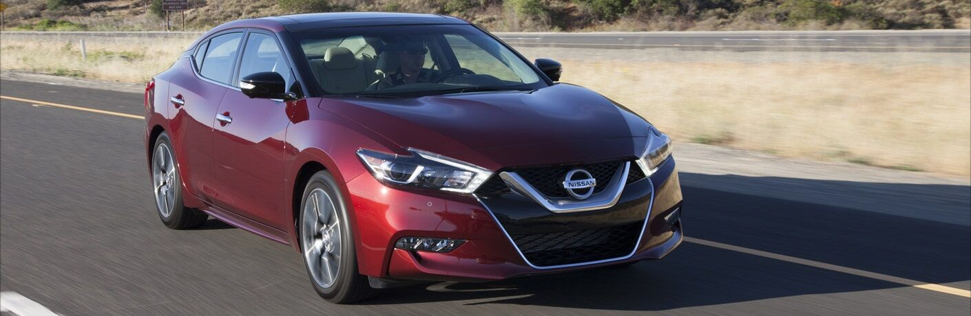 Front view of a red 2017 Nissan Maxima