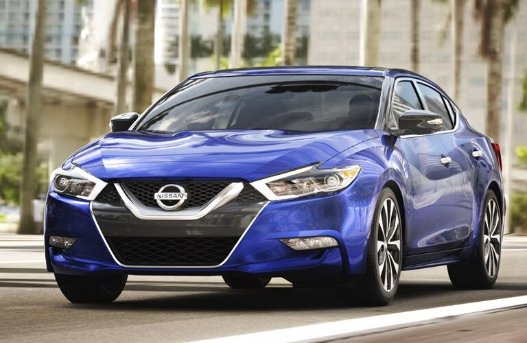 Front view of a blue 2017 Nissan Maxima
