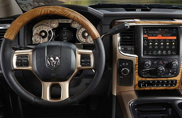Steering wheel and dashboard of a 2016 Ram 2500