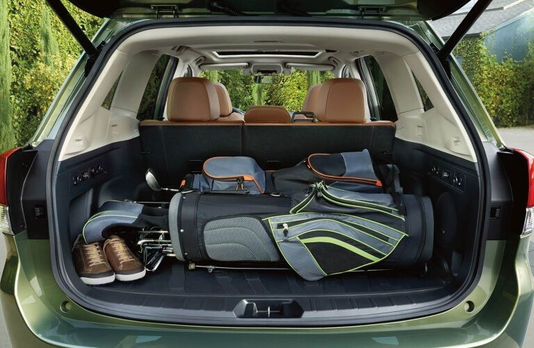 Golf clubs in the back of a 2019 Subaru Forester
