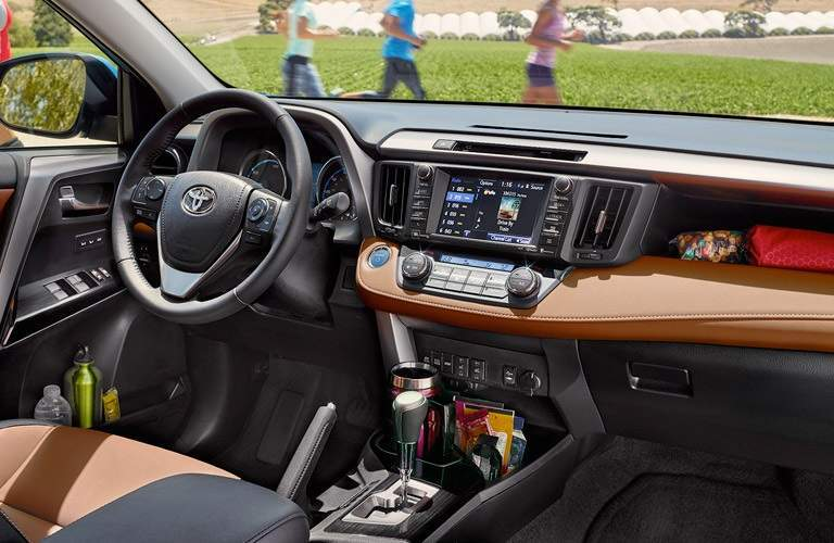 Steering wheel and infotainment system in 2017 Toyota RAV4