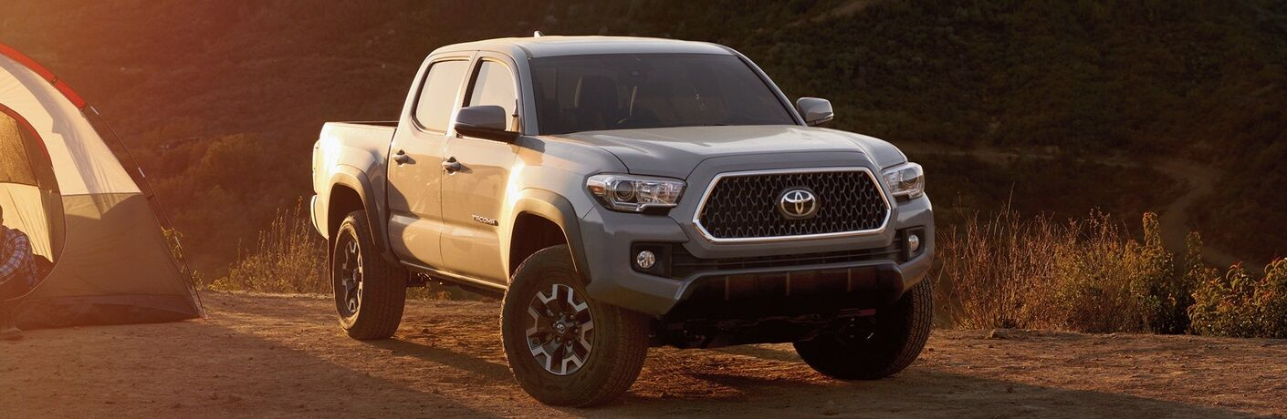 2019 Toyota Tacoma parked at campsite