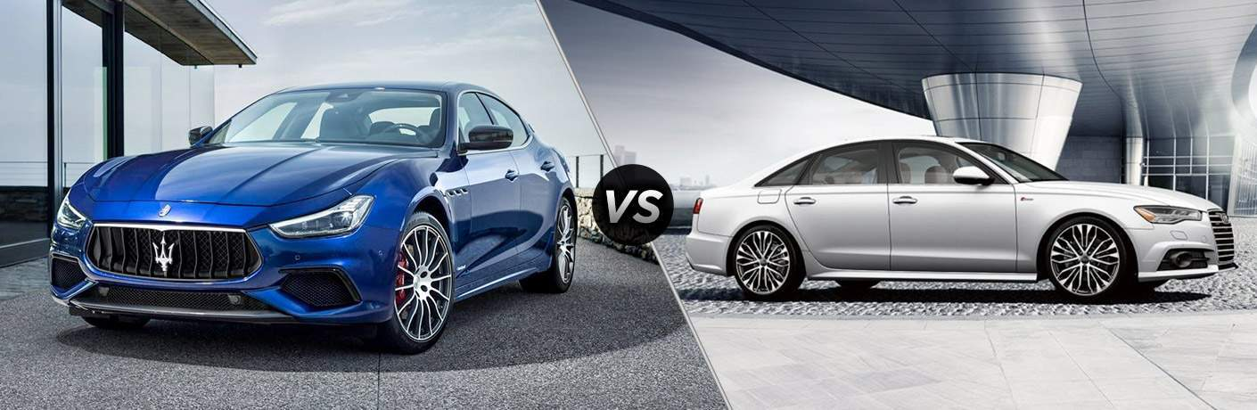 comparison image between the 2018 Maserati Ghibli vs 2018 Audi A6