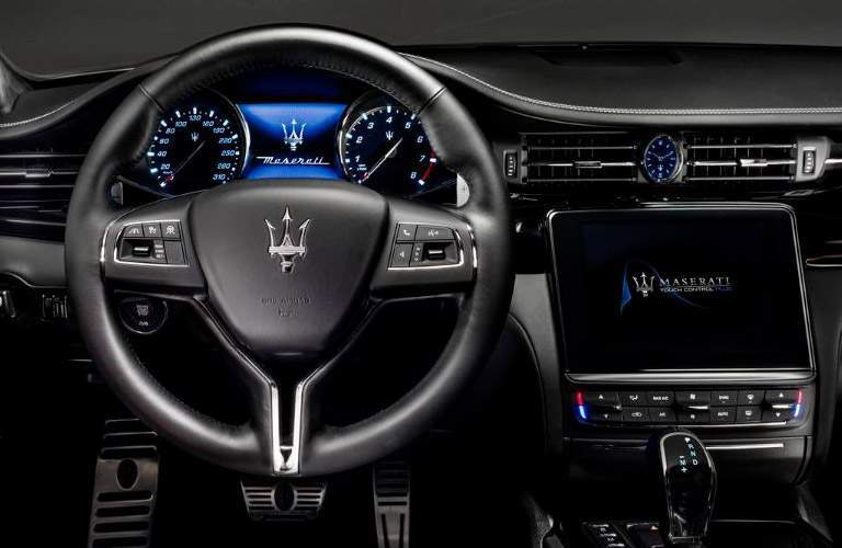 View from driver's seat inside the 2018 Maserati Quattroporte