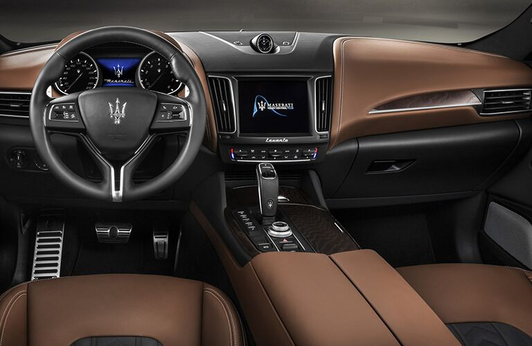 Steering wheel and center touchscreen of 2019 Maserati Levante