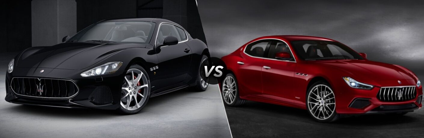 "Black 2019 Maserati GranTurismo and red 2019 Maserati Ghibli, separated by a diagonal line and a ""VS"" logo."