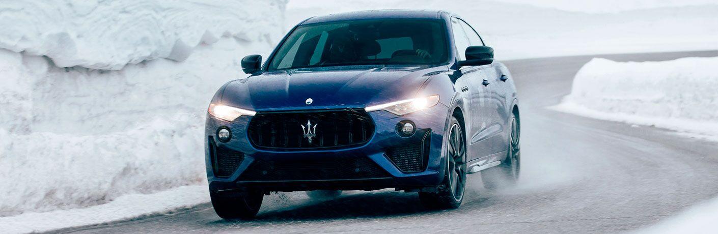 2020 Maserati Levante exterior front fascia driver side on snowy road