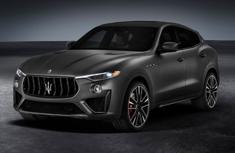 2020 Maserati Levante exterior front fascia driver side on gray and white background