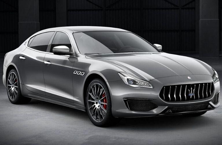 2020 Maserati Quattroporte exterior front fascia passenger side with gray background