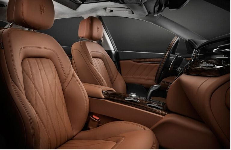 2020 Maserati Quattroporte interior front cabin seats steering wheel and dashboard