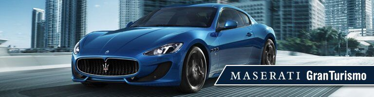 blue 2019 Maserati GranTurismo with banner in bottom right corner