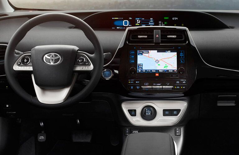 Navigate to your destination with the Entune infotainment system inside the Toyota Prius