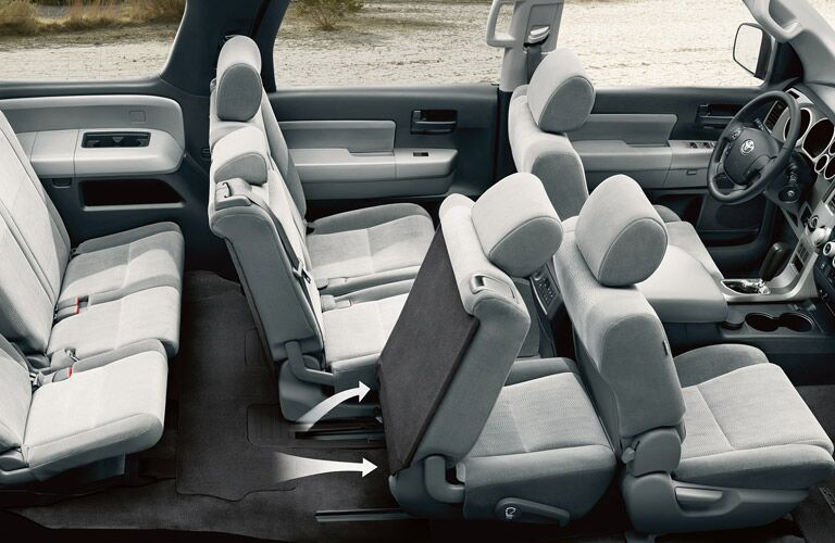 Interior of 2016 Toyota Sequoia with fold down seats to provide additional cargo space