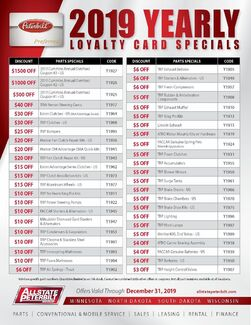 2019 Yearly Loyalty Card Discounts