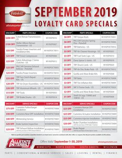 Loyalty Card Special - September 2019