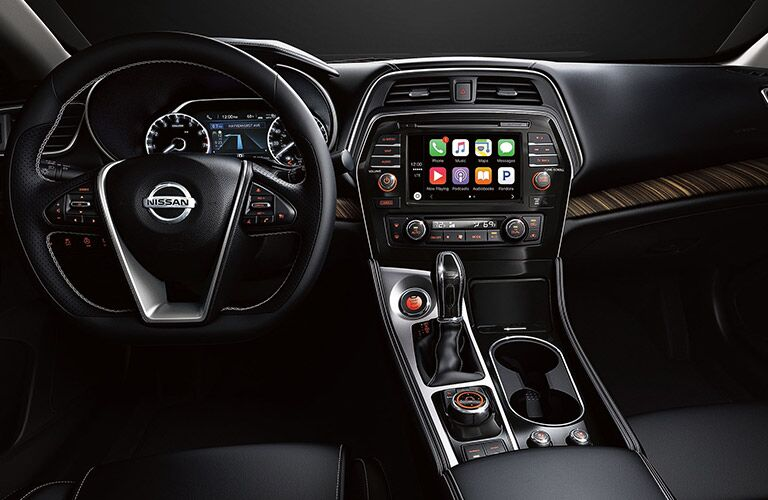 2018 Nissan Maxima steering and dash view.