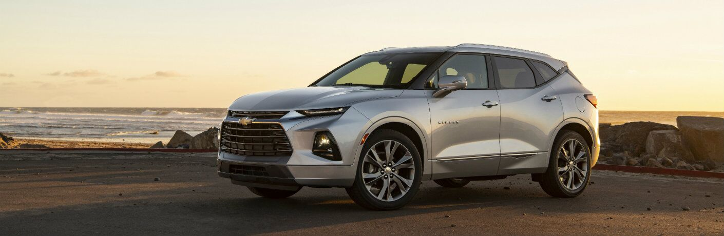 Silver-colored 2019 Chevy Blazer near the ocean