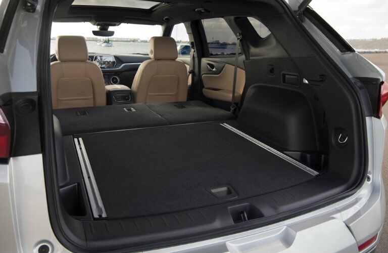 Cargo area of 2019 Chevy Blazer with collapsed seats