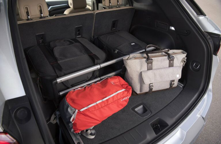 Cargo area of the 2019 Chevy Blazer loaded with gear