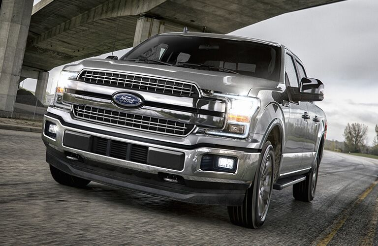 Driver's side front angle view of grey 2020 Ford F-150