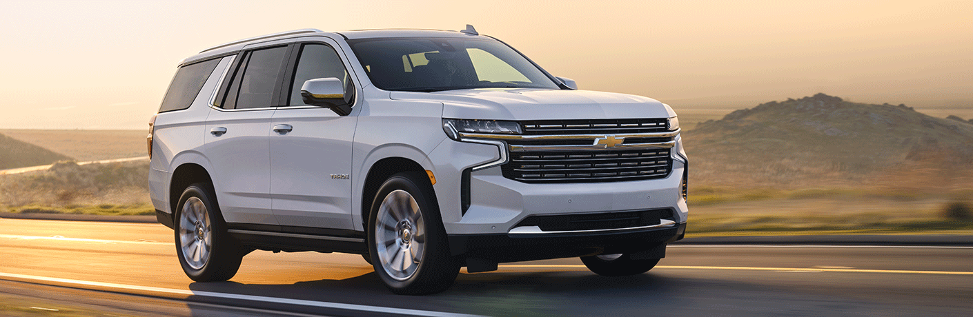 Exterior view of a white 2021 Chevrolet Tahoe