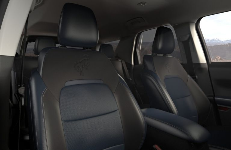 Interior view of the seating inside a 2021 Ford Bronco Sport