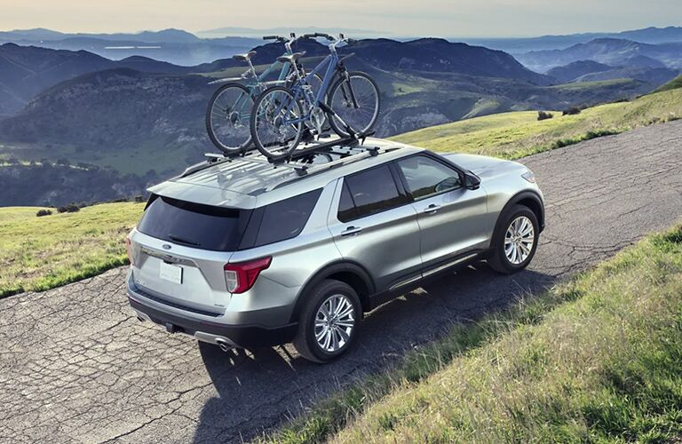 2021 Ford Explorer silver back view
