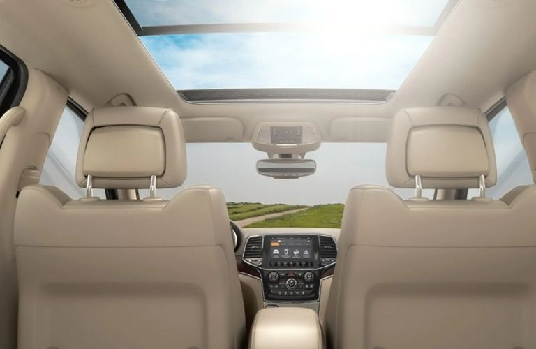 view of the panoramic sunroof of the 2021 Jeep Grand Cherokee