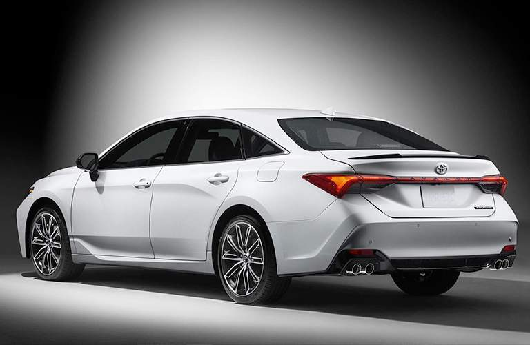 Rear View of White 2019 Toyota Avalon
