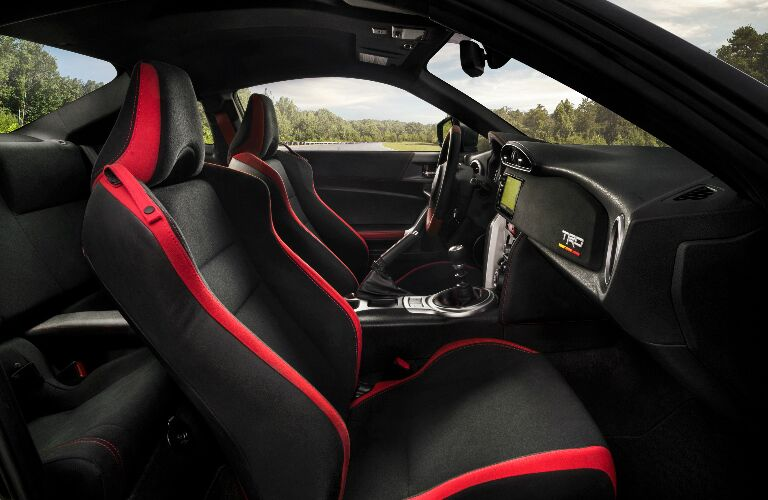 Dashboard and Red and Black Seats in 2019 Toyota 86