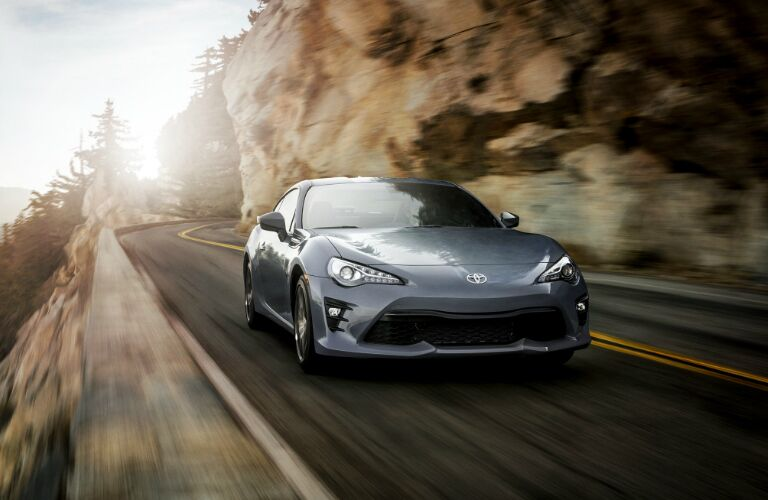 Grey 2019 Toyota 86 Driving on a Mountain Road