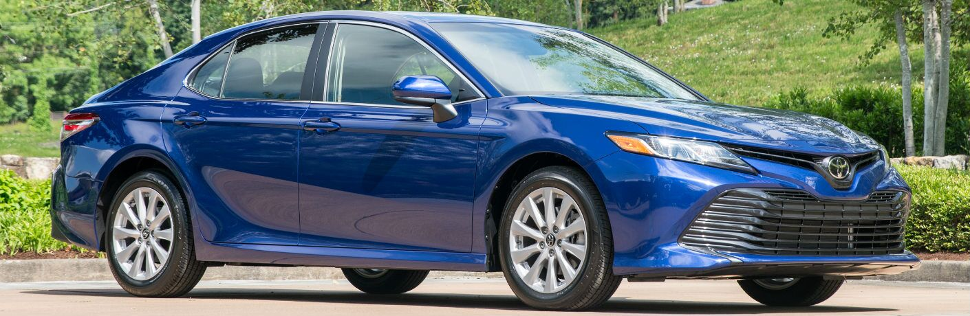Side View of Blue 2019 Toyota Camry
