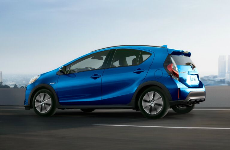 Side View of Blue 2019 Toyota Prius c