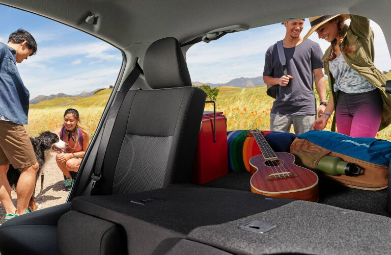 People Relaxing by the Cargo Area of a 2019 Toyota Prius c